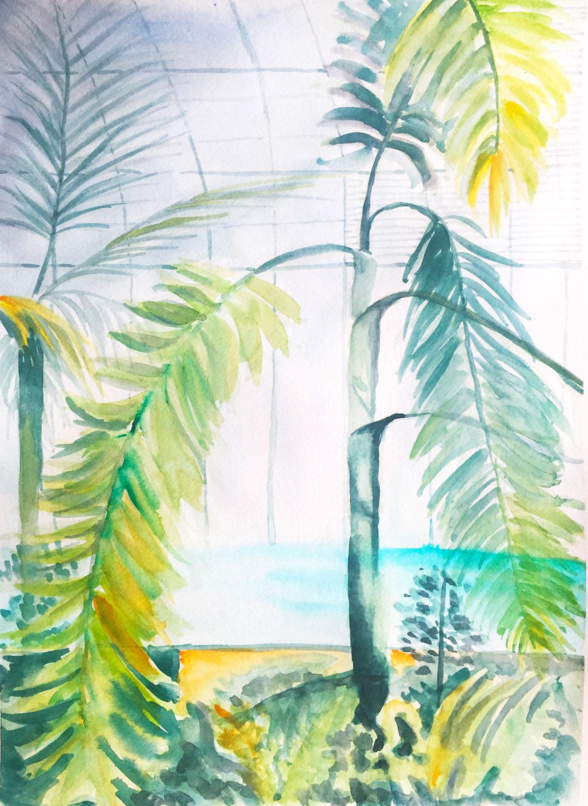 illustration d'une serre à l'aquarelle