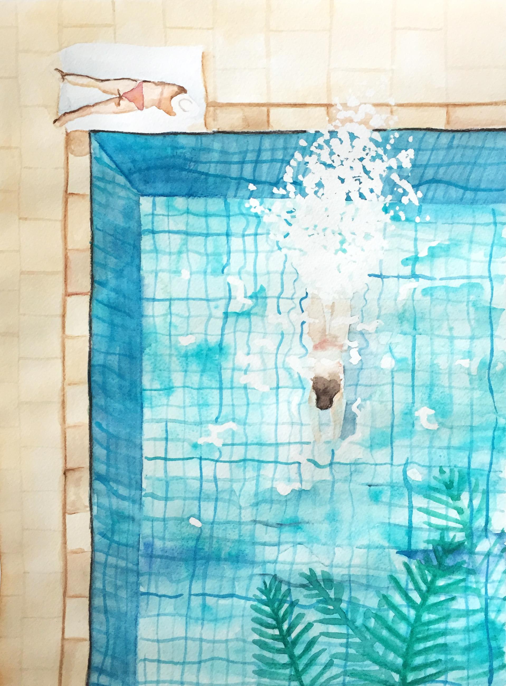illustration de piscine à l'aquarelle