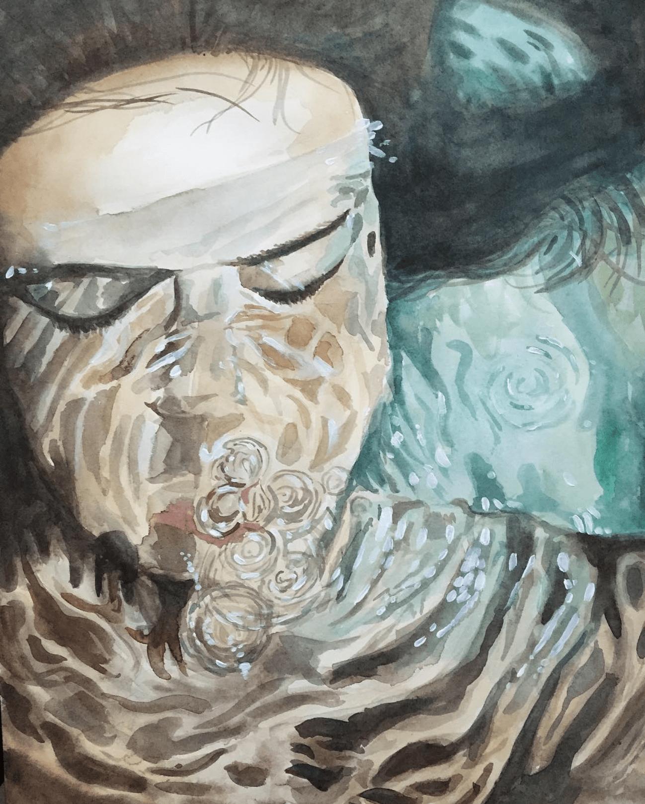 Portrait à l'aquarelle - sous l'eau