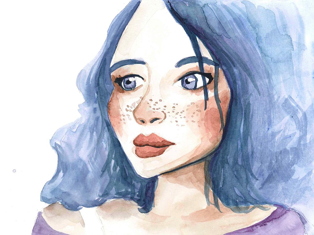 Portrait à l'aquarelle d'une femme aux cheveux bleus